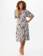 Wrap Brush Stroke Midi Dress - Neutral/navy/rust - Front