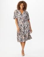 Wrap Brush Stroke Midi Dress - 7