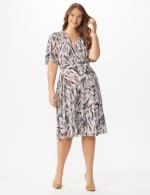 Wrap Brush Stroke Midi Dress - Plus - 6