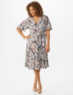 Wrap Brush Stroke Midi Dress - 5