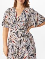 Wrap Brush Stroke Midi Dress - Plus - 5