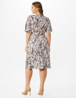 Wrap Brush Stroke Midi Dress - Plus - Neutral/Navy/ Rust - Back