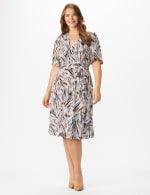 Wrap Brush Stroke Midi Dress - Plus - Neutral/Navy/ Rust - Front