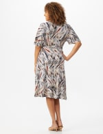 Wrap Brush Stroke Midi Dress - Neutral/navy/rust - Back