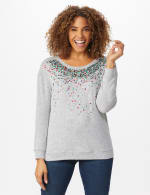 DB Sunday Cascade Sequin Hacci Sweater Knit Top - Light Grey - Front