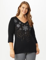 DB Sunday Snowflake Glitter Knit Top - Plus - Black - Front