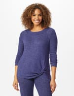 DB Sunday Sweater Knit Marilyn Neck Top - Navy - Front