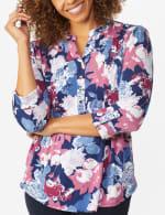 Denim Floral Pintuck Popover - 4