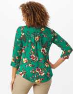 Roz & Ali Multi Color Floral Popover - Misses - Emerald - Back