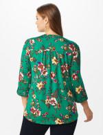 Roz & Ali Multi Color Floral Popover - Plus - Emerald - Back