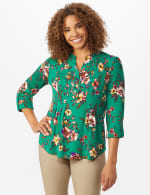 Roz & Ali Multi Color Floral Popover - Misses - Emerald - Front