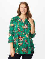 Roz & Ali Multi Color Floral Popover - Plus - Emerald - Front