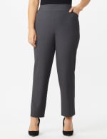 Roz & Ali Secret Agent Tummy Control Pants Cateye Rivets - Average Length - Plus - Grey - Front