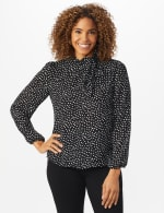 Roz & Ali Tie Neck Dot Blouse - Black - Front