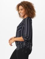 Roz & Ali Stripe Side Tie Blouse - 4