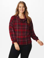 Red Plaid Cowl Neck Top - Plus - Red - Front