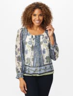 Floral Placed Print Bubble Hem Blouse - Offwhite/Blue/Green - Front