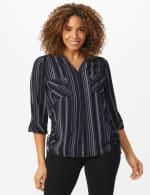 Roz & Ali Stripe Side Tie Blouse - 6