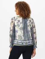 Floral Placed Print Bubble Hem Blouse - Offwhite/Blue/Green - Back