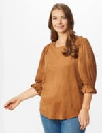 Ruched Shoulder Suede Knit Top - Plus - Camel - Front