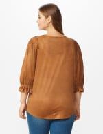 Ruched Shoulder Suede Knit Top - Plus - Camel - Back