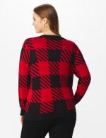 Roz & Ali Buffalo Plaid Pullover Sweater - Plus - Black/ Belldini Red - Back