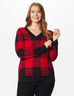 Roz & Ali Buffalo Plaid Pullover Sweater - Plus - Black/ Belldini Red - Front