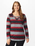 DB Sunday Lace Up Stripe Hacci Knit Top - Plus - Multi - Front