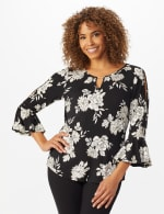 Roz & Ali Gold Foil Floral Knit Top - Black - Front