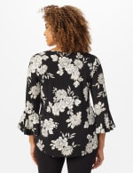 Roz & Ali Gold Foil Floral Knit Top - Black - Back