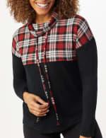 Westport Plaid Color Block Hacci Knit Sweater Top - 5