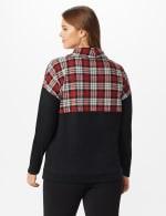 Westport Hacci Sweater Knit Color Block Top - Plus - Red/Black - Back