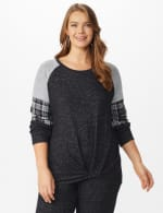 Westport Hacci Sweater Knit Twist Front Top - Plus - Black - Front