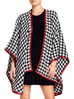 Houndstooth Ruana W/Red Trim - 1