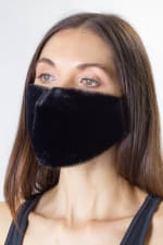 Faux Fur Mask - Black - Front