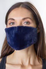 Faux Fur Mask - Navy - Front