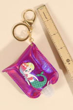 Mermaid Pearls Leather Kids Mini Sanitizer Holder - 4