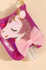 Unicorn Glitter Leather Kids Mini Sanitizer Holder - Fuchsia - Detail