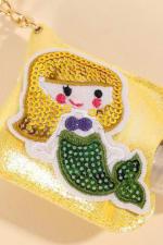 Mermaid Sequins Leather Kids Mini Sanitizer Holder - Yellow - Detail