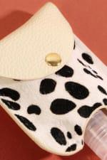 Animal Print Calf Hair Mini Sanitizer Holder - Cheetah White - Back