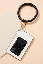 Animal Print Calf Hair ID Holder Key Ring - Grey - Back