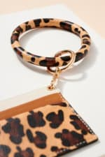 Animal Print Calf Hair ID Holder Key Ring - Beige  - Detail
