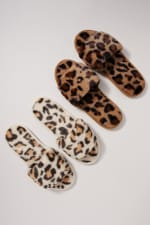 Animal Print Furry Slippers - 5