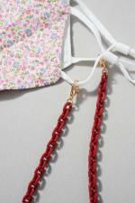 Acetate Link Chain Mask Lanyards Kids - Burgundy - Detail