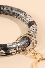 Snake Skin Metallic PU Leather Key Chain - 3