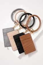 Croc Embossed Leather ID Holder Key Ring - 4