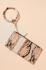 Snakeskin Print ID Card Holder Key Ring - 2