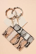 Snakeskin Print ID Card Holder Key Ring - 4