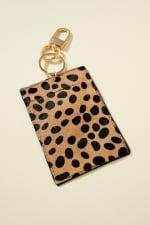 Animal Print Leather ID Pocket Key Chain - 1