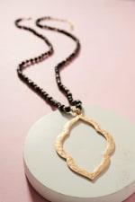 Metal Pendant Wood Beaded Necklace - 2
